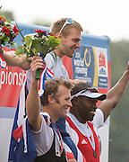 Amsterdam. NETHERLANDS. Left NZL M1X. Mahe DRYSDALE, Silver Medalist CZE M1X, Ondrej SYNEK, Gold Medalist right CUB M1X.  Men's Single scull Medals Awards Dock.  2014 FISA World Rowing Championships. 14:34:25  Sunday  DATE}  [Mandatory Credit; Peter Spurrier/Intersport-images]