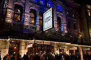 Theatre-goers outside the Noel Coward Theatre in St. Martins Lane queue to see Labour of Love, a political comedy by James Graham and starring Martin Freeman and Tamsin Greig, on 16th October 2017, in London, England.