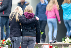 25.03.2015, Josef König Gymnasium, Haltern am See, GER, Germanwings Flug 4U9525, Flugzeugabsturz in Frankreich, Der Tag nach dem Absturz am Joseph-Koenig-Gymnasium, im Bild Zwei Schuelerinnen stehen trauernd Arm in Arm vor der Treppe mit Kerzen und Blumen // The day after the Chrash of Flight 9525. An Airbus A320 of Germanwings has crashed in Southern French Alps on its flight from Barcelona to Duesseldorf International Airport. Josef Koenig Gymnasium in Haltern am See, Germany on 2015/03/25. EXPA Pictures © 2015, PhotoCredit: EXPA/ Eibner-Pressefoto/ Hommes<br /> <br /> *****ATTENTION - OUT of GER*****