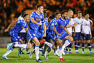 Colchester United celebrate winning the EFL Cup match between Colchester United and Tottenham Hotspur at the JobServe Community Stadium, Colchester, England on 24 September 2019.