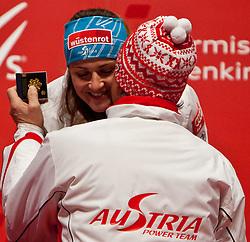 13.02.2011, Medal Placa, Garmisch Partenkirchen, GER, FIS Alpin Ski WM 2011, GAP, Damen, Abfahrt, Winners Presentation, im Bild Goldmedaillen Gewinnerin und Weltmeisterin Elisabeth Goergl (AUT) // Gold Medal and World Champion Elisabeth Goergl (AUT) during Downhill Ladies Winners Presentation Fis Alpine Ski World Championships in Garmisch Partenkirchen, Germany on 13/2/2011. EXPA Pictures © 2011, PhotoCredit: EXPA/ J. Groder