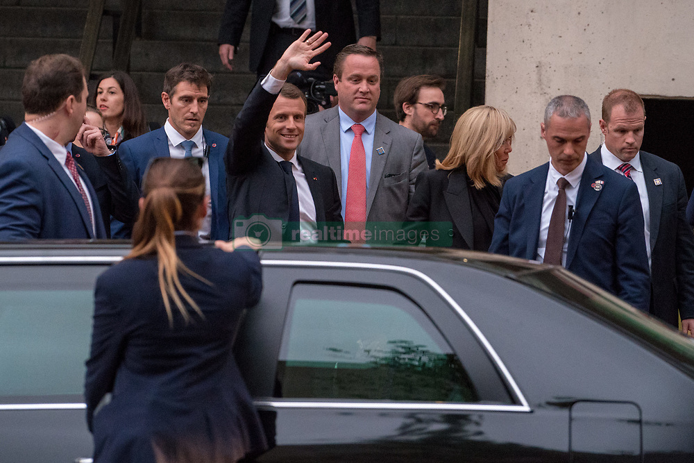 April 25, 2018 - Washington, District of Columbia, USA - Washington, District of Columbia, U.S. - French President Emmanuel Macron waves to the crowd after he spoke to students outside of George Washington University in Washington D.C. (Credit Image: © Ken Cedeno via ZUMA Wire)