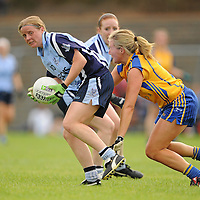 14 August 2010; Mary Nevin, Dublin, in action against Sinead Eustace, Clare. TG4 Ladies Football All-Ireland Senior Championship Quarter-Final, Clare v Dublin, St Rynagh's, Banagher, Co. Offaly. Picture credit: Brendan Moran / SPORTSFILE *** NO REPRODUCTION FEE ***