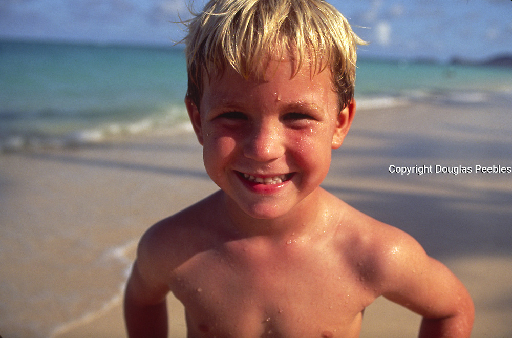 Boy on beach, Hawaii<br />