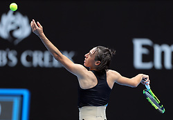 MELBOURNE, Jan. 15, 2018  Francesca Schiavone of Italy serves during the women's singles first round match against Jelena Ostapenko of Latvia at Australian Open 2018 in Melbourne, Australia, Jan. 15, 2018. Ostapenko won 2-0. (Credit Image: © Li Peng/Xinhua via ZUMA Wire)
