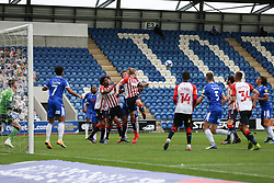 Carl Piergianni of Oldham Athletic heads the ball clear from a corner - Mandatory by-line: Arron Gent/JMP - 03/10/2020 - FOOTBALL - JobServe Community Stadium - Colchester, England - Colchester United v Oldham Athletic - Sky Bet League Two