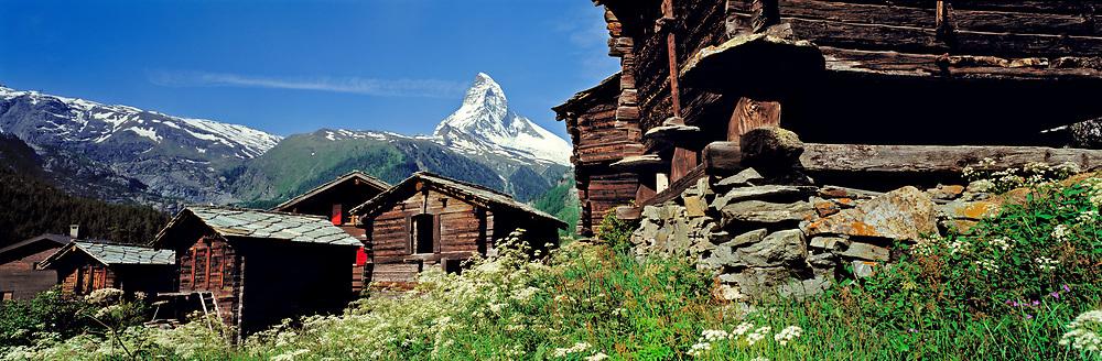 The Matterhorn looms above the village of Winkelmatten near Zermatt in Switzerland's Valaisian Alps. ©Ric Ergenbright