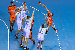 11-04-2019 NED: Netherlands - Slovenia, Almere<br /> Third match 2020 men European Championship Qualifiers in Topsportcentrum in Almere. Slovenia win 26-27 / Luc Steins #12 of Netherlands, Blaz Janc #8 of Slovenia, Vid Poteko #15 of Slovenia, Aleksander Spende #42 of Slovenia
