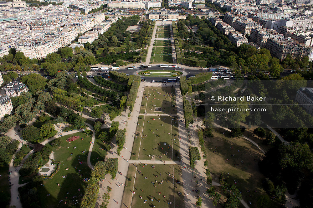 Aerial landscape of Parc du Champs de Mars from the second level of the Eiffel Tower.