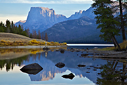 Fly-fisherman, Green River Lake, Square Top Peak, Wind River Mountains, Pinedale, Wyoming