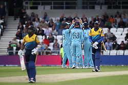June 21, 2019 - Leeds, Yorkshire, United Kingdom - England's players celebrates after Adil Rashid got the wicket of Kusal Mendis during the ICC Cricket World Cup 2019 match between England and Sri Lanka at Headingley Carnegie Stadium, Leeds on Friday 21st June 2019. (Credit Image: © Mi News/NurPhoto via ZUMA Press)