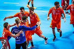 The Dutch handball player Jeffrey Boomhouwer, Bart Ravensbergen, Samir Benghanem, Kay Smits, Jasper Adams, Jorn Smits during the European Championship qualifying match against Turkey in the Topsport Center Almere.