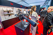 The Heckler and Koch stand with a range of infantry weapomns - The DSEI (Defence and Security Equipment International) exhibition at the Excel Centre, Docklands, London UK 15 Sept 2015