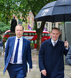 © Licensed to London News Pictures. 10/06/2019. London, UK. Matt Hancock MP (L) and Dominic Rabb MP (R) candidates for the leadership of the Conservative Party and to become Prime Minister are seen Westminster. Photo credit: Dinendra Haria/LNP