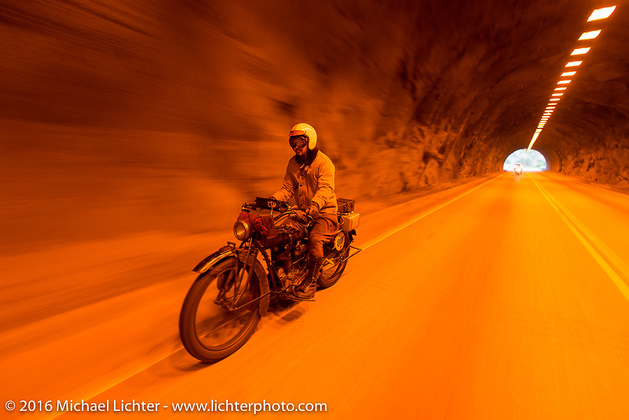 Yoshimasa Nimmi riding the team 80 1915 Indian Twin that he co-rides with Shinya Kimura during Stage 10 (278 miles) of the Motorcycle Cannonball Cross-Country Endurance Run, which on this day ran from Golden to Grand Junction, CO., USA. Monday, September 15, 2014.  Photography ©2014 Michael Lichter.THIS IMAGE IS ONLY AVAILABLE AS  LIMITED EDITION PRINT. TO ORDER A PRINT, GO TO THE LIMITED EDITION SECTION. The title of this limited edition image is - Time Travel. Niimi on the '15, CO. 2014