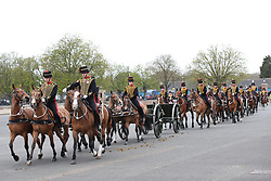 Members of the King's Troop Royal Horse Artillery prior to firing a 41-round gun salute at Woolwich Barracks in London, to mark the death of the Duke of Edinburgh. Picture date: Saturday April 10, 2021.