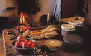 Kitchen with period foods, 1730, Daniel Boone's Homestead, Berks Co., PA