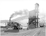 """D&RGW #472 near Durango coaling tower.  Went to Alaska during WWII.<br /> D&RGW  Durango, CO  Taken by Richardson, Robert W. - 7/5/1941<br /> In book """"Durango: Always a Railroad Town (1st ed.)"""" page 52"""