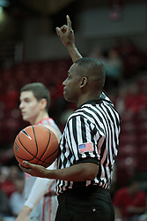 05 January 2014:  Referee Ron Jones during an NCAA  mens basketball game between the Salukis of Southern Illinois and the Illinois State Redbirds  in Redbird Arena, Normal IL.  Final score ISU 66, SIU 48