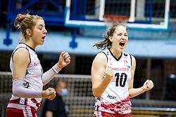 Taja Gradisnik Klanjscek of Nova KBM Branik celebrates during 3rd Leg Volleyball match between Calcit Volley and Nova KBM Maribor in Final of 1. DOL League 2020/21, on April 17, 2021 in Sportna dvorana, Kamnik, Slovenia. Photo by Matic Klansek Velej / Sportida