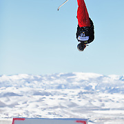 Alex Bowen performs aerial acrobatics during the 2009 Sprint US Freestyle Championships held at the Utah Olympic Park in Park City on March 8, 2009.