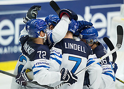 Players of Finland celebrate after scoring first goal during Ice Hockey match between Finland and Russia at Day 12 in Group B of 2015 IIHF World Championship, on May 12, 2015 in CEZ Arena, Ostrava, Czech Republic. Photo by Vid Ponikvar / Sportida