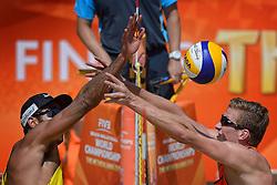 20150704 NED: WK Beachvolleybal day 9<br /> Beachvolleyballers Reinder Nummerdor #1 en Christiaan Varenhorst #2 spelen zondag op de WK in Nederland om het goud. Het Nederlandse duo won in de halve finales in Den Haag met 21-18, 21-23 en 15-12 van de Brazilianen Pedro Solberg #1/ Evandro Gonçalves Oliveira Junior #2