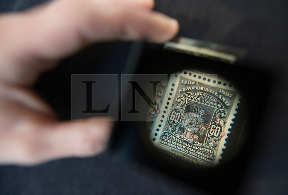 © Licensed to London News Pictures. 01/09/2011. London, UK. A unique mint block of De Pinedo Air Mail 60c black stamps  estimated to fetch £120,000 to £150,000 at a Sotheby's sale of The Philatelic Collection of Lord Steinberg on September 6-8 2011. The whole collection is expected to fetch in the region of £4 million. Photo credit: Ben Cawthra/LNP