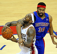 Rasheed Wallace fouls LeBron James as he drives the lane in the first half.