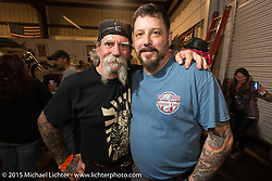 Mailman and Edge at Bill Dodge's Bling's Cycles party during Daytona Beach Bike Week 2015. FL, USA. Wednesday, March 11, 2015.  Photography ©2015 Michael Lichter.