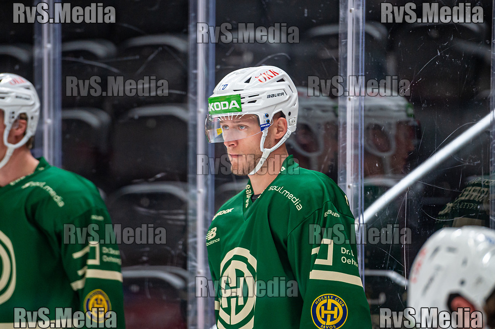 LAUSANNE, SWITZERLAND - SEPTEMBER 24: Enzo Corvi #70 of HC Davos warms up prior the Swiss National League game between Lausanne HC and HC Davos at Vaudoise Arena on September 24, 2021 in Lausanne, Switzerland. (Photo by Monika Majer/RvS.Media)