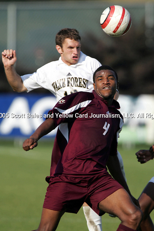 8 November 2005: . Wake Forest University defeated Boston College 4-0 at SAS Stadium in Cary, North Carolina in the play-in game of the 2005 ACC Men's Soccer Championship.