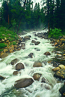 Lake Creek is one of many snow-fed streams that cascade down from the Beartooth Plateau of the Beartooth Mountains.  Wyoming.