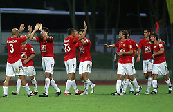 Players of Rudar celebrate first goal  at 3rd Round of PrvaLiga Telekom Slovenije between NK HIT Gorica vs NK Rudar Velenje, on August 1, 2008, in Nova Gorica, Slovenija. Rudar won the match 2:0. (Photo by Vid Ponikvar / Sportal Images)