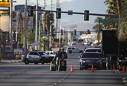 LAS VEGAS, Oct. 4, 2017  An investigator walks by the shooting scene in Las Vegas, the United States, Oct. 3, 2017. At least 59 people were killed and 527 others wounded after a gunman opened fire Sunday on a concert in Las Vegas in the U.S. state of Nevada, the deadliest mass shooting in modern U.S. history.  zjy) (Credit Image: © Wang Ying/Xinhua via ZUMA Wire)