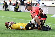 Hurricanes Ardie Savea is injured in the Super Rugby match, Hurricanes v Crusaders, Sky Stadium, Wellington, Sunday, April 11, 2021. Copyright photo: Kerry Marshall / www.photosport.nz