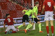 Brighton U18 Archie Davies  scores the Brighton  equaliser during the FA Youth Cup match between U18 Nottingham Forest and U18 Brighton at the City Ground, Nottingham, England on 10 December 2015. Photo by Simon Davies.