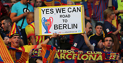 "06-06-2015 GER: UEFA Champions League final Juventus - Barcelona, Berlin<br /> FC Barcelona mit einem Schild "" Yes we can Road to Berlin""  during the UEFA Champions League final match between Juventus FC and Barcelona FC at the Olympia Stadion in Berlin<br /> <br /> ***NETHERLANDS ONLY***"