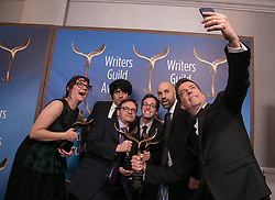 February 17, 2019 - Los Angeles, California, United States of America - Writers of 'The Fake News With Ted', winners of Comedy/Variety Specials, pose in the press room of the 2019 Writers Guild Awards at the Beverly Hilton Hotel on Sunday February 17, 2019 in Beverly Hills, California. JAVIER ROJAS/PI (Credit Image: © Prensa Internacional via ZUMA Wire)