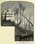 PIGEON-TOWERS ON THE NILE. The battlements are formed of earthenware pots, and rows of Indian corn stalks project from the loopholed walls to serve as perches Wood engraving from 'Picturesque Palestine, Sinai and Egypt' by Wilson, Charles William, Sir, 1836-1905; Lane-Poole, Stanley, 1854-1931 Volume 4. Published in 1884 by J. S. Virtue and Co, London