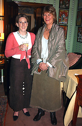 Left to right, MARY JANE RUSSELL and ELLIE WYLIE at a party for interior designer Katherine Ireland held at Marks club, 46 Charles Street, London W1 on 27th September 2004.<br /><br />NON EXCLUSIVE - WORLD RIGHTS