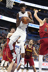 October 13, 2017 - Orlando, FL, USA - The Orlando Magic's Jonathan Isaac (1) pulls down a rebound against the Cleveland Cavaliers in preseason action at the Amway Center in Orlando, Fla., on Friday, Oct. 13, 2017. The Cavs won, 112-106. (Credit Image: © Stephen M. Dowell/TNS via ZUMA Wire)