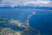 Alaska. Homer. Aerial of Kachemak Bay and Homer Spit.