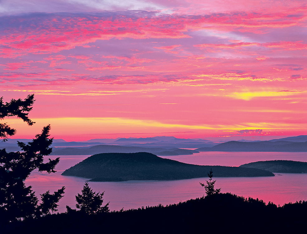 Spectacular Sunset Over The San Juan Island From Mt Erie, Anacortes, WA.