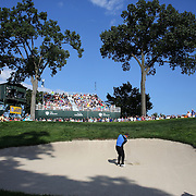 Stuart Appleby, Australia, chips out of the bunker on the 17th during the fourth round of theThe Barclays Golf Tournament at The Ridgewood Country Club, Paramus, New Jersey, USA. 24th August 2014. Photo Tim Clayton