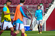 Finlay Pollock (#54)) of Heart of Midlothian FC during the warm ups before the SPFL Championship match between Heart of Midlothian and Inverness CT at Tynecastle Park, Edinburgh Scotland on 24 April 2021.