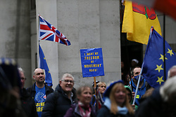 © Licensed to London News Pictures. 02/10/2021. Manchester, UK.  Anti-Brexit protesters gather in St. Peter's Square in Manchester city centre on Saturday afternoon. Pro-EU groups came together in Manchester to demand that the UK return to the single market and customs union and reinstate freedom of movement for workers.  Photo credit: Adam Vaughan/LNP