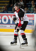 KELOWNA, CANADA - OCTOBER 18:  Alex Forsberg #27 of the Prince George Cougars looks for the pass as the Prince George Cougars visit the Kelowna Rockets on October 18, 2012 at Prospera Place in Kelowna, British Columbia, Canada (Photo by Marissa Baecker/Shoot the Breeze) *** Local Caption ***