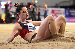 Romania's Florentina Costina Iusco during the Women's Long Jump Finals during day three of the European Indoor Athletics Championships at the Emirates Arena, Glasgow.
