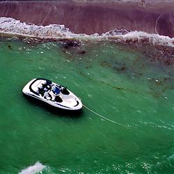 Pleasure fun boat anchored on Sanibel Island & Captiva Island, florida